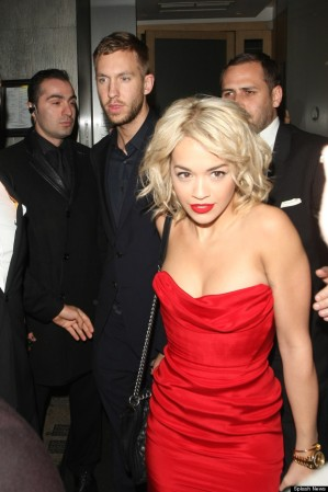 Rita Ora and Calvin Harris pictured leaving Nobu Berkeley restaurant and arriving at Proud Camden Galleries in Camden, London, UK