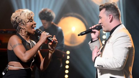 Sam Smith and Mary J Blige British singer Sam Smith, pictured with Mary J Blige, is among the nominees